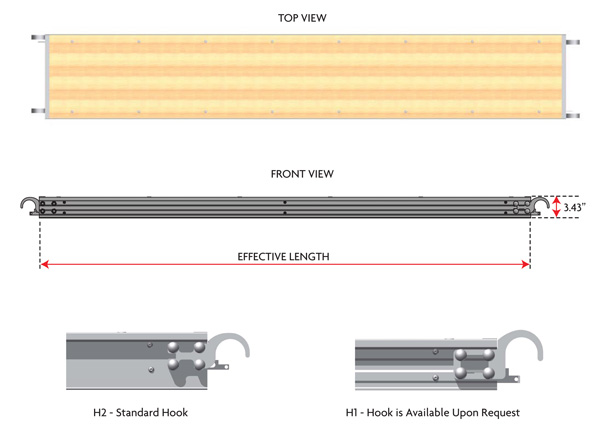 19″ Wide Aluminum Deep Rail Plywood Board